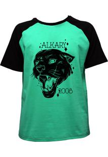 Camiseta Alkary Raglan Manga Curta Nirvana Verde E Preta