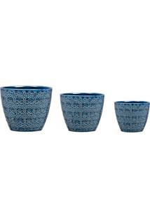 Kit Mart Cachepot Em Ceramica 3 Pcs Azul