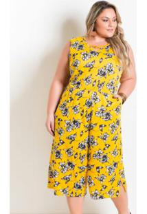 Macacão Pantacourt Plus Size Floral Amarelo