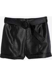 Shorts Dudalina Liso Com Cinto Couro Fake Feminino (Preto - P19, 38)