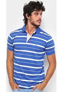 Camisa Polo Aleatory Fio Estampa Listrada Masculina - Masculino-Azul+Branco