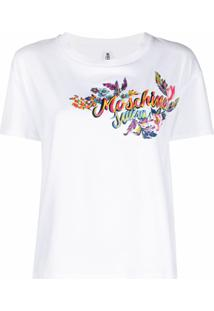 Moschino Camiseta Swim Com Estampa De Logo - Branco