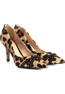 Scarpin Couro Shoestock Salto Alto Tira Strass - Feminino-Onça