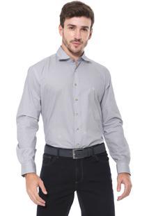 Camisa Dudalina Reta Padronagem Branca/Azul