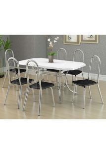 Mesa 1507 Branca Cromada Com 6 Cadeiras 182 Preta Carraro