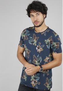 Camiseta Masculina Comfort Fit Estampada De Folhagem Manga Curta Gola Careca Azul Marinho