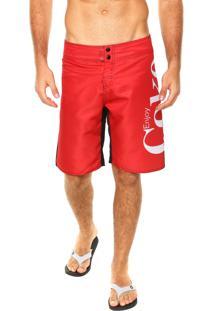Bermuda Água Coca-Cola Jeans Estampa Vermelha