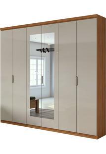 Guarda Roupa Alonzo Plus Com Espelho 6 Portas Rovere Naturale/Off White