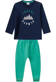 "Conjunto De Camiseta "" Travel "" + Calã§A Jogger- Azul Marmilon"