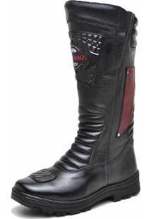 Bota Motoqueiro Cano Alto Em Couro Atron Shoes Preto/Vermelho