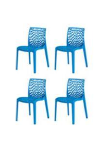Kit 4 Cadeiras Gruvyer Azul Sala Cozinha Jantar