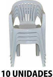 Cadeira De Plastico Poltrona Branco Empilhável 10 Unidades
