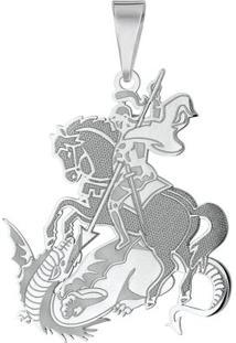 Pingente São Jorge Em Prata 925 Simples Grande - Unissex-Prata