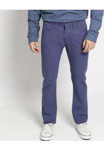 Calça Reta Em Sarja Lisa- Azul- Colccicolcci