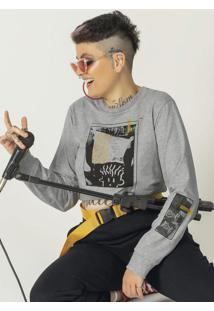 Camiseta Manga Longa Estampada Cinza