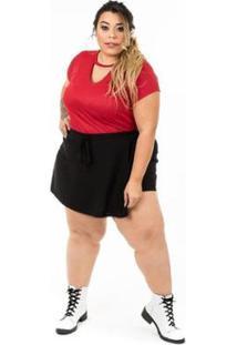 Blusa Plus Size Brio Choker Feminina - Feminino-Vermelho