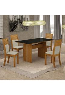 Conjunto De Mesa De Jantar Florença Iv Com 4 Cadeiras Havaí Linho Preto E Bege