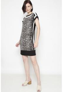 Vestido Animal Com Recortes- Preto & Off White- Shirshirley Dantas