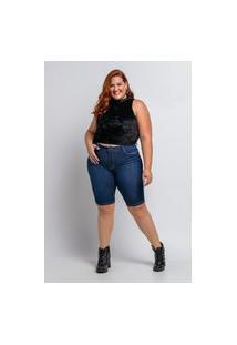 Bermuda Pedal Almaria Plus Size Shyros Jeans Azul