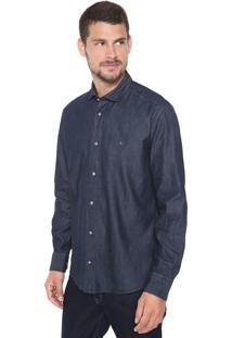 Camisa Jeans Aramis Reta Colarinho Trento Azul