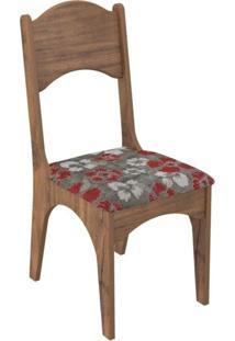 Cadeira Com Assento Estofado Ca18 Dalla Costa - Caixa Com 2 Unidade - Nobre/Chenille Floral Vermelho