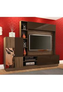 Estante Para Home Theater Luna Amêndoa E Chocolate