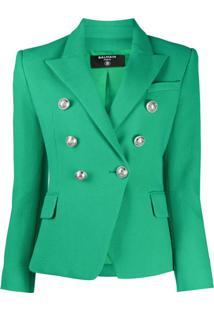 Balmain Blazer Com Abotoamento Duplo - Verde