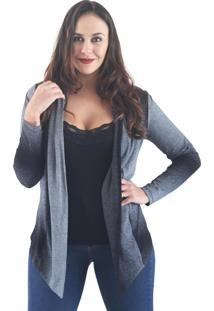 Cardigan It'S Moda Estampado Com Barra Irregular Cinza Pigmentado