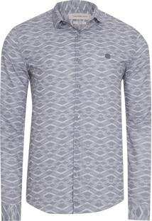 Camisa Masculina Estampa Repeat - Cinza