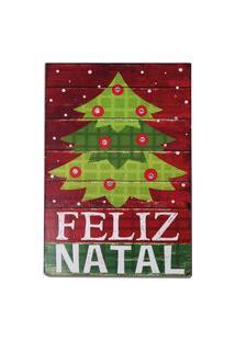 Quadro Iluminado Led Árvore Feliz Natal 23X15 Cm Vermelha