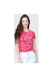 Camiseta Coração Rosa D Bell