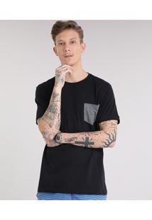 Camiseta Masculina Com Bolso Listrado Manga Curta Gola Careca Preta