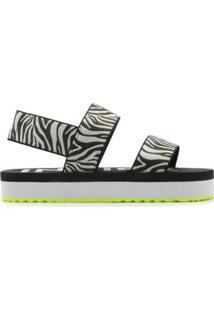 Sandália Flatform Sandal Zebra Feminina - Feminino-Branco+Preto