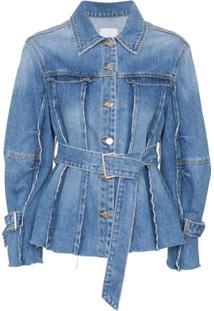 Sjyp Jaqueta Jeans Com Cinto - Azul