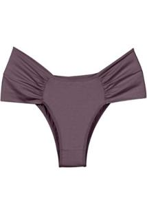 Calcinha Plus Com Laterais Drapeadas Com Proteção Permanente Feminina - Feminino-Lilás