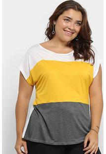 Blusa Plus Size Lecimar Tricolor Mnaga Curta Feminina - Feminino-Amarelo