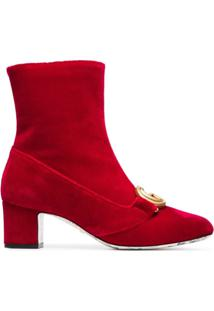 Gucci Ankle Boot Aveludada 'Victoire 55' - Vermelho