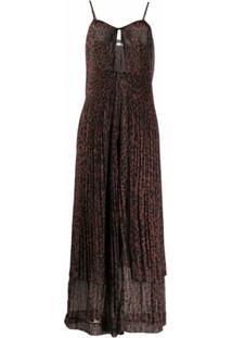 Rotate Vestido De Chiffon Com Estampa De Leopardo - Marrom