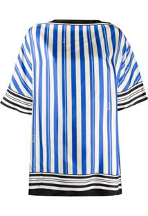 Loewe Blusa De Seda Com Estampa De Listras - Azul