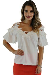 Blusa Mamorena Ombro Vazado Decote Guipir Branco