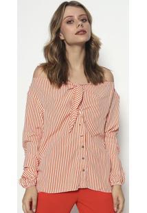 Camisa Com Amarraã§Ã£O - Laranja & Brancalez A Lez