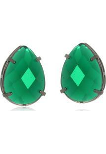 Brinco Le Diamond Gota Em Resina Verde - Tricae