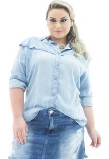 Camisa Jeans Confidencial Extra Manga Longa Com Babado Plus Size Feminina - Feminino-Azul