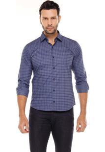Camisa Manga Longa Remo Fenut Xadrez Azul