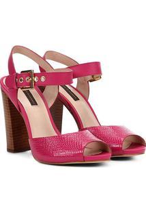Sandália Couro Jorge Bischoff Salto Grosso Croco Feminina - Feminino-Pink