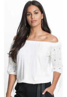 Blusa Ombro A Ombro Com Renda Branca