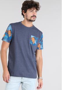 Camiseta Masculina Com Bolsos Estampado Tropical Manga Curta Gola Careca Azul Marinho