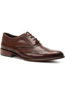 Sapato Social Couro Shoestock Brogues Romana Masculino - Masculino-Café