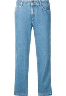 Karl Lagerfeld Calça Jeans Cropped Com Listras - Azul