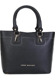 Bolsa Couro Jorge Bischoff Tote-Shopper Feminina - Feminino-Preto